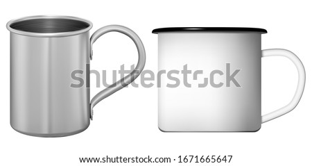 Metal cup. White and silver coffee or tea mug set. Stainless steel flask template with retro design. Ceramic teacup mockup with handle, photorealistic 3d illustration. Travel tin for hot drink #1671665647