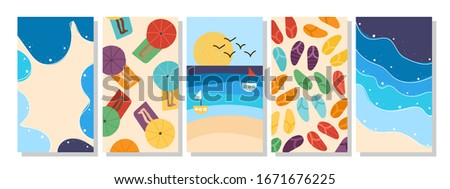 Vacation beach seaside summer holidays set of verical post templates for social media in minimal flat design style #1671676225