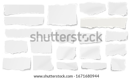 Set of paper different shapes ripped scraps fragments wisps isolated on white background. Vector illustration. Royalty-Free Stock Photo #1671680944