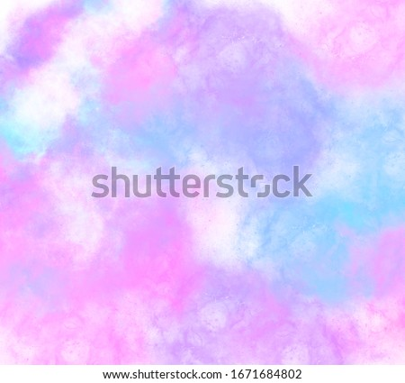 Fantasy unicorn background and pastel color.The unicorn in pastel sky with rainbow. Pastel clouds and sky.Cute bright candy background.Vector illustration of Mystical universe banner in princess.