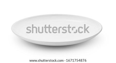 white ceramic plate isolated on white background Royalty-Free Stock Photo #1671754876