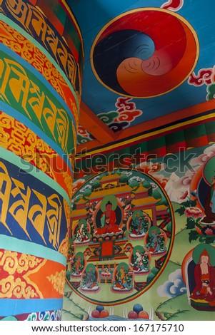 JUNBESI, NEPAL - CIRCA OCTOBER 2013: prayer wheel circa October 2013 in Junbesi. #167175710