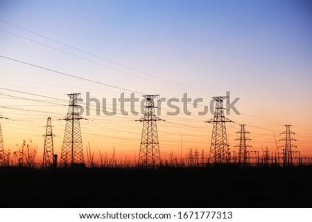 The silhouette of pylon, the pylon in the evening #1671777313