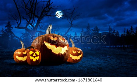 Halloween design with pumpkins . Mixed media #1671801640