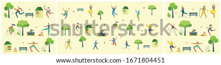 Vector illustration background in flat design of group people doing different activities outdoor in the park on weekend #1671804451