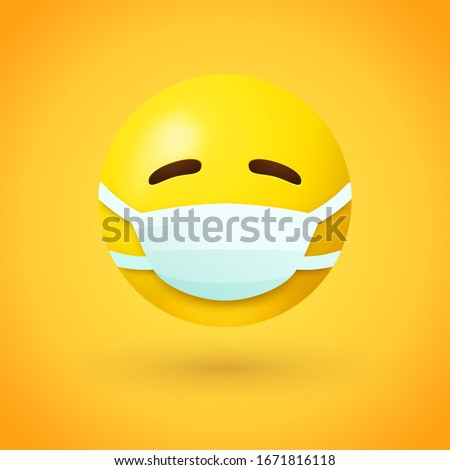 Emoji with mouth mask - yellow face with closed eyes wearing a white surgical mask #1671816118