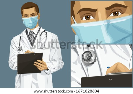 Coronavirus vector concept. Man with mask on his face. Vector doctor man writing something with marker on clipboard #1671828604