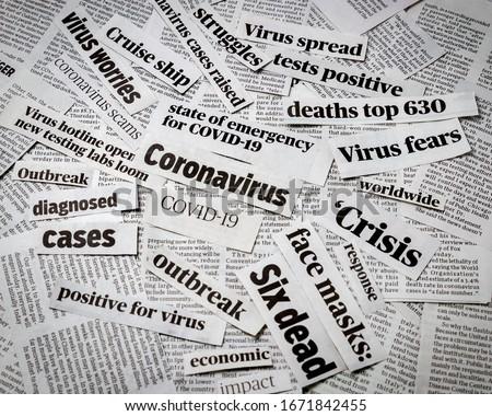 Coronavirus, covid-19 newspaper headline clippings. Print media information isolated Royalty-Free Stock Photo #1671842455