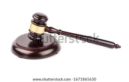 Lawyer's hammer. Judge gavel on white background