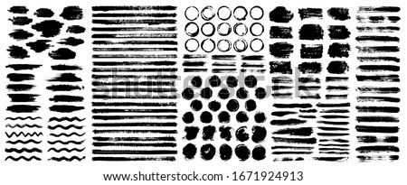 Dry paint stains brush stroke backgrounds set. Dirty artistic vector design elements, boxes, frames for text, labels, logo. Hipster stickers, paintbrush grunge stamp label backgrounds, circle frames. #1671924913