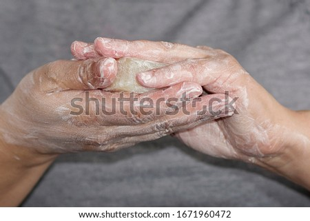 Soap hand washing for virus infection prevention #1671960472
