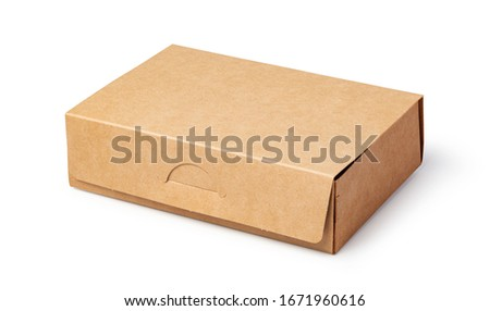 brown unlabeled paper food box isolated on white background #1671960616