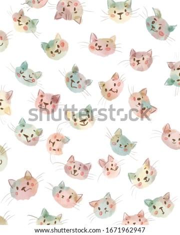 Cats faces clipart digital print cartoon poster colorful wall art decor digital download funny print fishing gifts fish art kids clipart