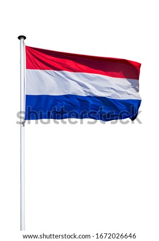 Dutch national flag of the Netherlands on flagpole flying in the wind against white background Royalty-Free Stock Photo #1672026646