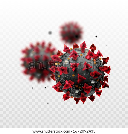 COVID-19 Chinese coronavirus under the microscope on a transparent background. Realistic vector 3d illustration. Pandemic, disease. Floating China pathogen respiratory influenza covid virus cells