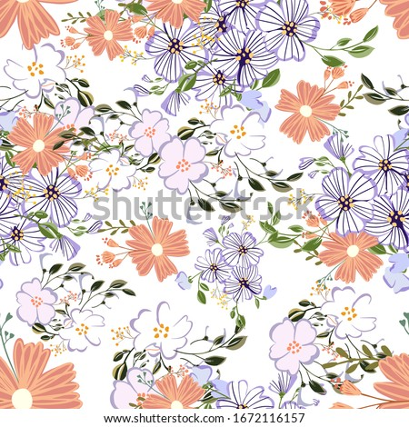 Seamless pattern in small and medium flowers. Small colorful flowers. Ditsy elegant floral background. Template for fashion prints. #1672116157