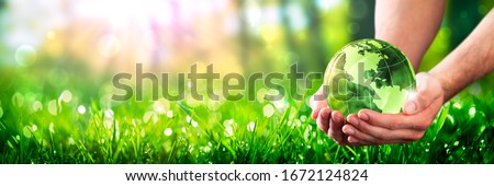 Hands Holding Crystal Earth In Lush Green Environment With Sunlight - Earth-Day Concept #1672124824