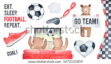 Football Theme watercolour illustration collection with funny brown bears, handwritten text lettering and colorful game symbols. Hand painted water color drawing, cut out clipart details for design.
