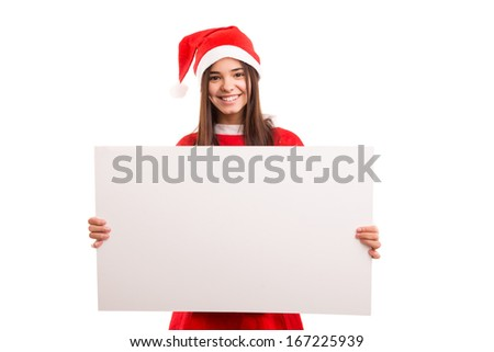 Sexy asian woman dressed as Santa Claus, presenting your product on a white board #167225939