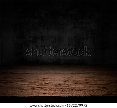 Wooden dark desk studio free space for your decoration product.Black background with space for your text.  #1672279972