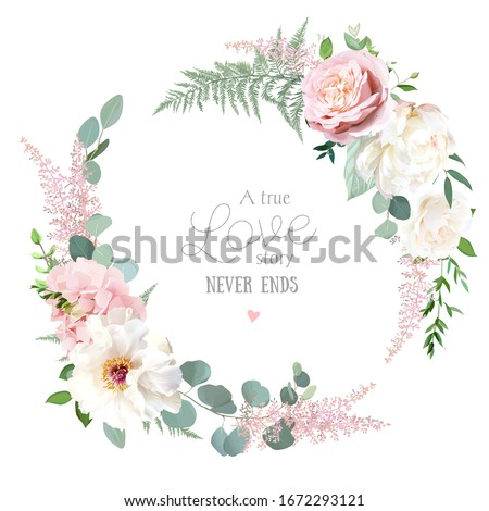 Greenery, pink and white peony, rose flowers vector design round invitation frame. Rustic wedding greenery. Mint, green tones. Watercolor save the date card. Summer rustic style. Isolated and editable #1672293121