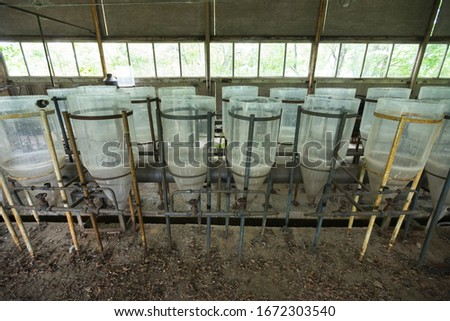 Abandoned fish farm in Chernobyl near to power plant, old radioactive feeders in exclusion zone, Ukraine on coast of cooling pond in exclusion zone, Ukraine #1672303540