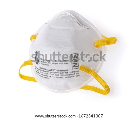 White medical mask isolated. Face mask protection against pollution, virus, flu and coronavirus. Health care and surgical concept. #1672341307