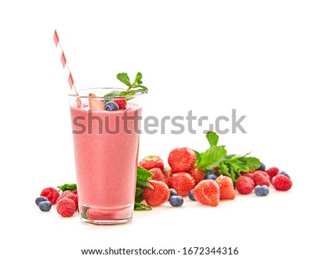 Strawberry, raspberry fruit smoothie. Berry detox diet sweet concept. Mixed red berries smoothie background. Cocktail strawberry, raspberry, blueberry, smoothies isolated on white #1672344316