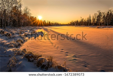 Winter snow nature sunset landscape. Sunset winter nature view. Winter sunset nature panorama. Sunset winter scene  #1672389073