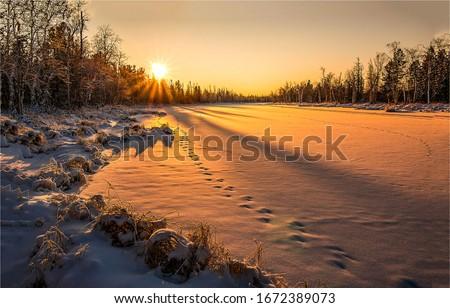 Winter snow nature sunset landscape. Sunset winter nature view. Winter sunset nature panorama. Sunset winter scene