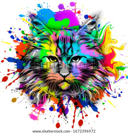 Cat head colorful illustration on color background