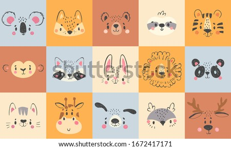 Cute animal portraits. Hand drawn happy animals faces, smiling bear, funny fox and koala cartoon vector illustration set. Face deer and lion drawing, rabbit and tiger wildlife Royalty-Free Stock Photo #1672417171