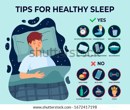 Healthy sleep tips infographics. Causes of insomnia, good sleep rules and man sleeps on pillow vector illustration. Healthy care recommendation for good sleep #1672417198
