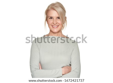 Portrait of business woman is smiling isolated on white #1672421737