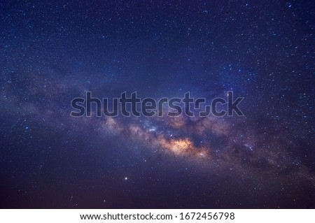 Milky way galaxy with stars and space dust in the universe, long speed exposure, Night landscape with colorful Milky Way, Starry sky  at summer, Beautiful Universe, Space background. #1672456798