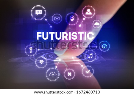 Finger touching tablet with web technology icons and FUTURISTIC inscription, web technology concept #1672460710