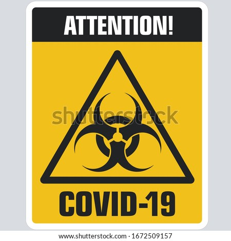 vector icon sign toxic virus covid-19. Sign yellow virus epidemic sign. Illustration sticker danger coronavirus covid-19 symbol sign in flat minimalism style.