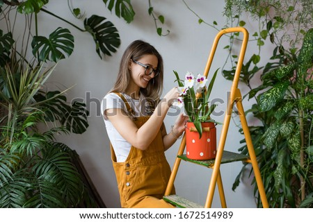 Young smiling woman gardener in glasses wearing overalls, taking care for orchid in old red milk can standing on orange vintage ladder. Home gardening, love of houseplants, freelance.  Royalty-Free Stock Photo #1672514989