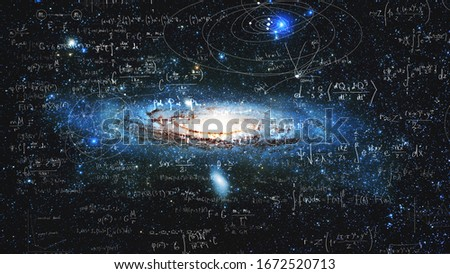 Science and research of the universe, spiral galaxy and physical formulas, concept of knowledge and education. Elements of this image furnished by NASA. Royalty-Free Stock Photo #1672520713