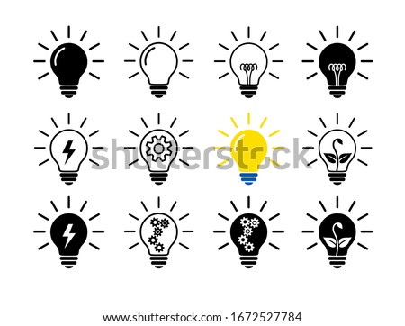 Set Of Light Bulb Flat Icons, Linear And Black. Collection Of Lighting Electric Lamps. Simple Pictograms, 12 Items. Vector Graphic Design Elements. Creative Idea Sign, Solution, Innovation Concept. Royalty-Free Stock Photo #1672527784