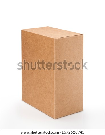 Brown cardboard box isolated on white background with clipping path. Suitable for food, cosmetic or medical packaging. #1672528945