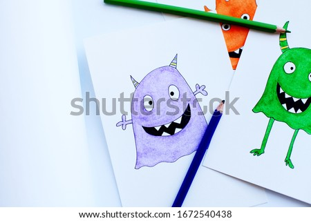 Cartoon cute monsters. Kids funny watercolor pencils illustration. Perfect for your unique designs, greeting card, blog, pattern, baby shower party, invaitation, baby cards, birthday and more