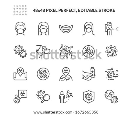 Simple Set of Coronavirus Safety Related Vector Line Icons.  Contains such Icons as Washing Hands, Outbreak Map, Man and Woman Wearing Face Mask and more. Editable Stroke. 48x48 Pixel Perfect. #1672665358