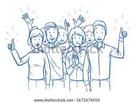 Large group of mixed people, looking happy and satisfied, cheering and clapping hands. Hand drawn blue outline line art cartoon vector illustration. #1672676056