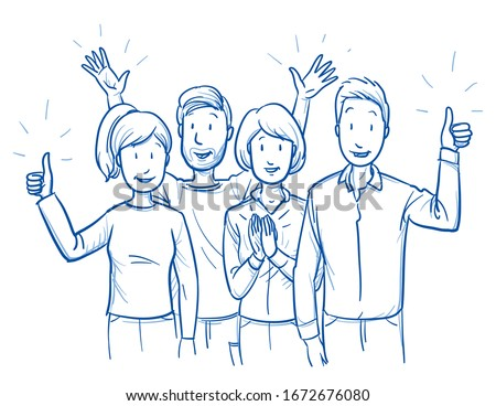 Small group of mixed people, looking happy and satisfied, cheering and clapping hands. Hand drawn blue outline line art cartoon vector illustration. #1672676080