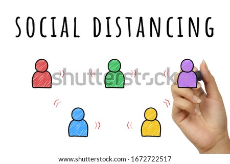 Social distancing doodle sign hand written with marker pen - Corona virus global epidemic personal hygiene safe distance to prevent spreading infection - Pandemic, viral outbreak and disease concept #1672722517