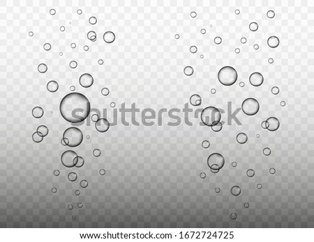 Raindrops. Water bubbles. Many Realistic water drops on transparent background. Water rain drops or steam shower. Realistic pure droplets Or Vapor Trough Window Glass #1672724725