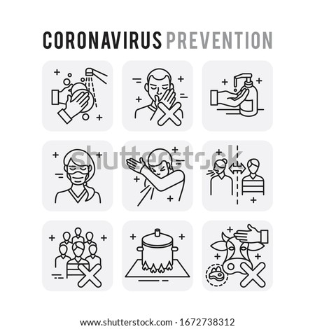 Coronavirus Prevention Set Icons Thin Style Pictogram Minimalist #1672738312