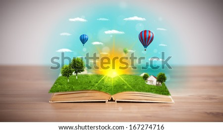 Open book with green nature world coming out of its pages, ecological concept #167274716