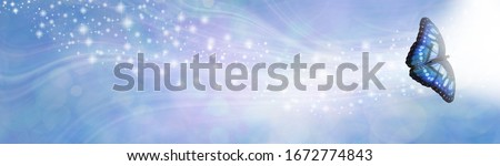 Blue Spiritual Sparkle Butterfly Message Banner - wide gaseous flowing glittering shimmering banner with a beautiful single open winged butterfly in right corner moving towards white light and space f